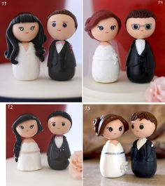 Personalized custom wedding cake topper kokeshi by Chikipita