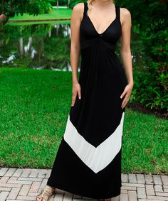 Look what I found on #zulily! Black & White Chevron Block Maxi Dress by Modern Touch #zulilyfinds