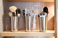Storage and organization - Metal is safer than glass, less tippy than plastic. (via @amyetotherescue)