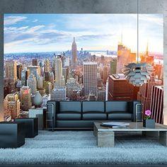 Papel pintado fotográfico que muestra el Skyline de Nueva York desde un ático - imagen mural de la vista de Manhattan - póster XXL de Nueva York decoración mural 336 cm x 238 cm, http://www.amazon.es/dp/B00SVE5XWW/ref=cm_sw_r_pi_awdl_sosCxbZKM66G0