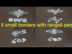 8 small side border kolam without dots||kolam side designs for learners - YouTube