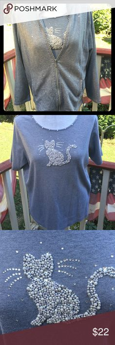 Quaker Factory 2 piece shirt/jacket This is so adorable!! The cat is covered in pearls. Tshirt and matching jacket. Made by Quacker Factory sold by QVC in excellent condition! Quaker Factory Tops