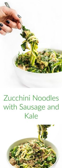 This gluten free pasta recipe is made with zucchini noodles, sweet Italian sausage and hearty kale.