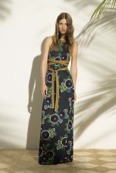 Summer's Night Out - Chic Navy Maxi with a hint of Mustard by Tory Burch, Look #1