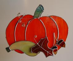 Fall Autumn Halloween Stained Glass Pumpkin by GlassByKat on Etsy, $39.00