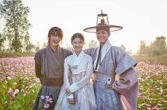 Actors wearing Korean Hanbok costume in drama.