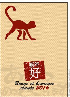 #carte #nouvelan #chinois #chine #signe #singe Carte Heureuse ann�e nouvel an chinois pour envoyer par La Poste, sur Merci-Facteur ! Movie Posters, Chinese New Year Card, Monkeys, Thanks, Film Poster, Popcorn Posters, Film Posters, Posters
