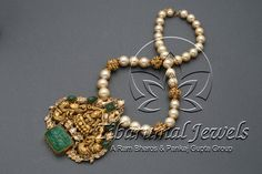 Studded With Flat Diamonds,Diamonds,Carved Emeralds & Strung In Pearls,Nakshi Balls. Ruby Jewelry, Emerald Jewelry, India Jewelry, Temple Jewellery, Trendy Jewelry, Simple Jewelry, Jewelry Trends, Bridal Jewelry, Gold Jewelry