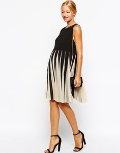 Enlarge ASOS Maternity Fit and Flare Dress With Mesh Insert