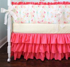 Designer Coral Crib Bedding Set by AlainaCerise on Etsy, $299.00