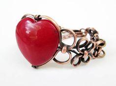 Red Agate Heart Copper Cuff Bracelet