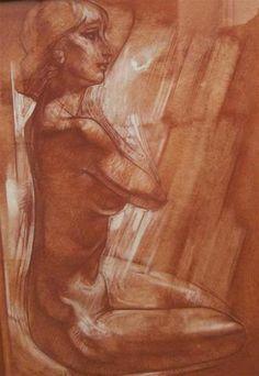 """Georges OUDOT (1928-2004) """"Nu"""" Sanguine avec rehaut blanc signé en bas à gauche. 58 x 42 cm ."""