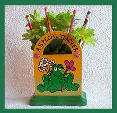 Teachers Desk  organizer with Flowers and by RFColorfulCreations, $16.00