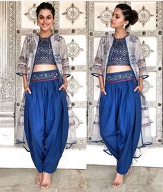Taapsee Pannu Royal Blue Floral Printed Silk Party Wear Indo-Western Dhoti Suit With Shrug Western Dresses, Western Outfits, Cowgirl Outfits, Indian Wedding Outfits, Indian Outfits, Indian Party Wear, Ethnic Outfits, Indian Clothes, Indian Wear