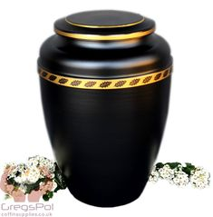 Beautiful Black Metal Cremation Urn , Funeral Urn For Ashes (UMH4)
