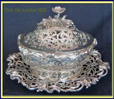 Antique Victorian sterling silver butter dish with original glass bowl insert. Made London, England by Chas Fox, 1838 Vintage Silver, Antique Silver, Antique Items, Vintage Items, Dining Ware, All That Glitters, Silver Plate, Silver Table, Butter Dish