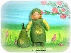 Birne Mädchen Blumenkinder Jahreszeitentisch von Susannelfes Blumenkinder  auf DaWanda.com