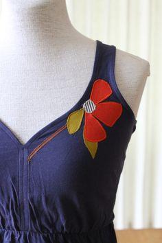 Sweetheart Neckline Spring Poppy Tank Navy Blue by annajoyce, $38.00