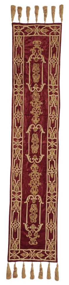 The Florence runner. Claret velvet base fabric, with bright gold taffeta and gold rayon velvet appliqués. Backed with bright gold taffeta and finished with gold silk thread tassels. 40x240cm. RRP £249. Contact sales@englishhome.com for trade enquiries.