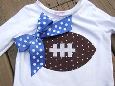 Items similar to Iron On TEAM SPIRIT Appliques - Football with your choice color Ribbon on Etsy Football Onesie, Football Girls, College Football, Cute Kids, Cute Babies, 3 Kids, Baby Sewing, Sew Baby, Baby Baby