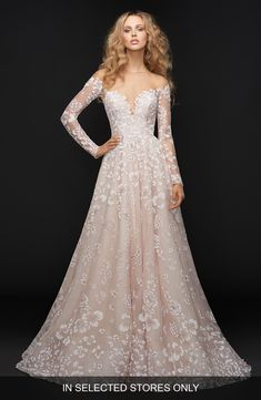 Style 6761 Stevie Hayley Paige bridal gown - Sandwashed orchid caviar bridal ball gown, off-the-shoulder long sleeve detail with illusion bateau neckline front and back, full floral skirt. Pink Wedding Dresses, Wedding Suits, Bridal Dresses, Women's Dresses, Ivory Wedding, Tulle Wedding, Dress Wedding, Wedding Bride, Wedding Colors