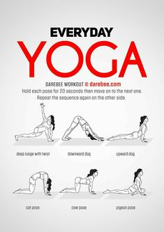 Yoga training to lose weight and belly fat - - Everyday Yoga Workout by DAREBEE Practice Yoga to Lose Weight - Yoga Fitness. Introducing a breakthrough program that melts away flab and reshapes your body in as little as one hour a week! Post Workout Stretches, Morning Yoga Workouts, Yoga Exercises, Morning Stretches, Fitness Exercises, Posture Stretches, Morning Workout Routine, Song Workouts, Gym Routine