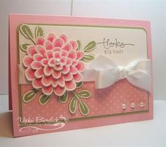 Stampin' Up Cards    Flower Fest Stamp set, Pretty in Pink & Pear Pizzazz paper