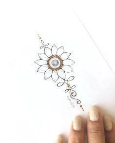 "TATTOO CREATOR ☾ ALINE (@alinecoill) no Instagram: ""• G I R A S S O L • #unalome #unalometattoo #girassol #sunflower #sunflowertattoo #rustictattoo"""