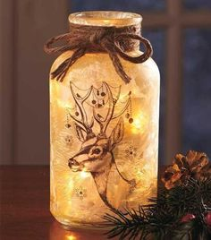 Rustic-Country-Lodge-Cabin-Winter-Deer-Buck-Silhouette-Frosted-Mason-Jar-Light