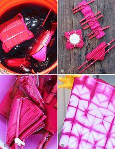 DIY: pink shibori cloth napkins