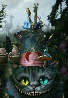 """Alice in Wonderland"" . Director by Tim Burton. This film is about a girl, Alice by name. You'll learn a lot of interesting about her travelling in Wonderland. Art Tim Burton, Tim Burton Kunst, Film Tim Burton, Tim Burton Artwork, Lewis Carroll, Go Ask Alice, Chesire Cat, Alice Madness, Illustration"