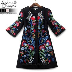2015 autumn winter designer womens outwear black wool blends coat red blue  flower embroidery fashion vintage