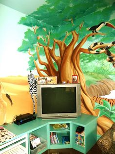 Cool storage for a kids playroom - Love the wall mural!