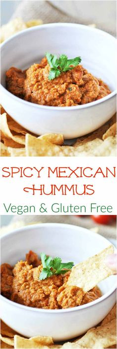 Spicy Oil-Free Mexican Hummus! This delicious and spicy recipe puts the flavors of Mexico in the traditional creamy dip of India. A crowd favorite! http://www.veganosity.com