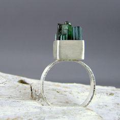 Green & Teal Tourmaline 'Sticks' Silver Ring by ElementalAlchemist, $125.00