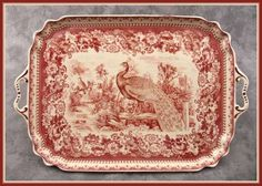 RED & CREAM TRANSFERWARE PEACOCK COUNTRYSIDE TOILE LARGE SERVING PLATTER TRAY