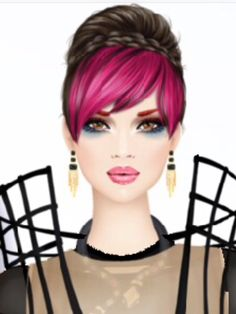 Skin Tone: Light Olive | Makeup: Scarlet Letter | Hairstyle and Colour: Braided Bun, Hot Pink