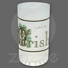 Horseshoe & Shamrocks Luck-O-The Irish Frosted Glass Mug  Pencil Sketch - Colourized  Show your Irish Pride with this Hand-Drawn Lucky Horseshoe and Shamrocks.  This sketch is available on most of zazzles customizable products.