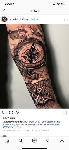 Tattoos for men Mens Full Sleeve Tattoo, Nautical Tattoo Sleeve, Best Sleeve Tattoos, Sleeve Tattoos For Women, Tattoo Sleeve Designs, Arm Tattoos For Guys, Tattoo Designs Men, Nautical Compass Tattoo, Tribal Shoulder Tattoos