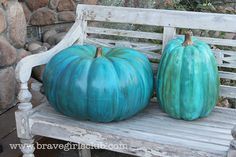 Beautiful turquoise pumpkins - full tutorial - using either a real or fake pumpkin