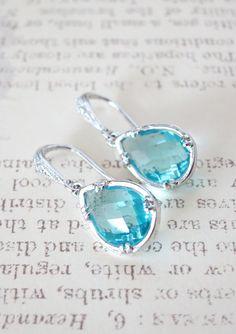 Suzette Aquamarine Glass Teardrop Earrings Cubic
