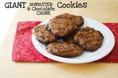 Giant Sunbutter & Chocolate Chunk Cookies | So....Let's Hang Out #paleo @Gina Marie {So...Let's Hang Out} soletshangout.com