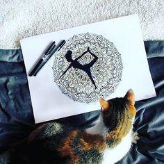 The photoshoot  don't start 'till she walks in  #catlife #demon #art #yoga #mandala #illustration #zentangle #doodle #naptime #🎨 #blackink #artsy  #photooftheday #mandalaplanet #manda.la.la #mandala_sharing