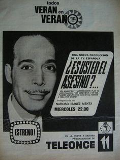 Canal 11 de Buenos Aires. Anuncio del programa ES USTED EL ASESINO?, protagonizado por Narciso Ibañez Menta, en 1969.