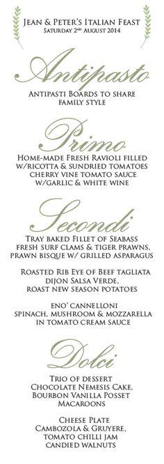 Eno' sample wedding menu pp www. Antipasti Board, Ravioli Filling, Sea Bass, Wedding Menu, Clams, Tomato Sauce, Tray Bakes, Wedding Dinner Menu, Seashells