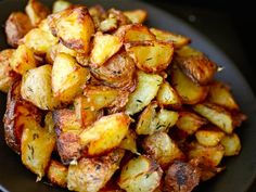 Ultra-Crispy Roast Potatoes..one of my favorite side dishes. Microwave quartered potatoes for 10 minutes. Drain water. Drizzle a fair amount of olive oil over the potatoes, gently toss the potatoes, and sprinkle with oregano. Put in a hot oven 450 degrees for about 20-25 minutes.
