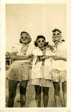 A trio of sunglasses.  Atlantic City, c.1940, Vintage photograph.