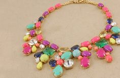 GroopDealz | Gorgeous Colorful Summer Mix Statement Necklace! $20