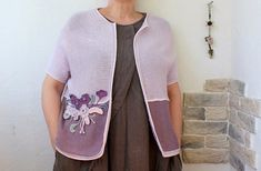 Great tenderness. Knitted cotton jacket with flowers, boho jacket, summer jacket with flowers pink purple