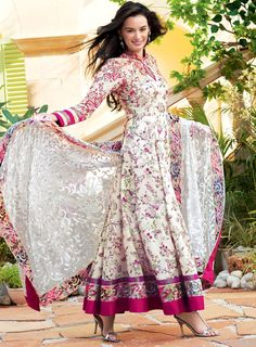 Sheer Spring Sweetness and Florals Delight in this Lawn Dress, in the Gul Ahmed 2012 Collection